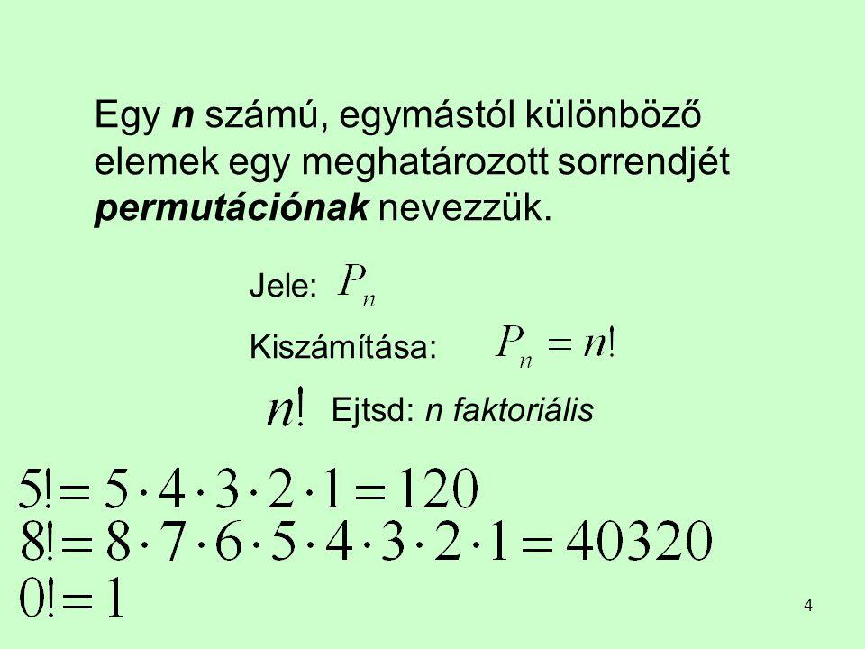 Egy n számú, egymástól különböző elemek egy meghatározott sorrendjét