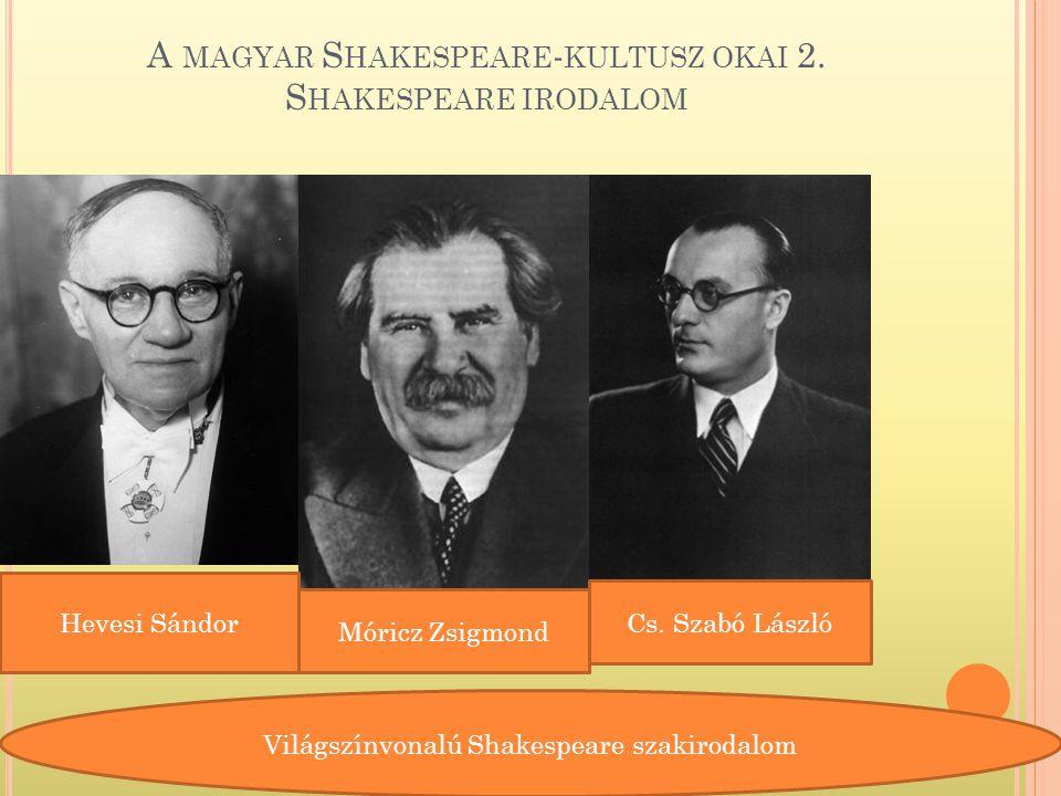 A magyar Shakespeare-kultusz okai 2. Shakespeare irodalom