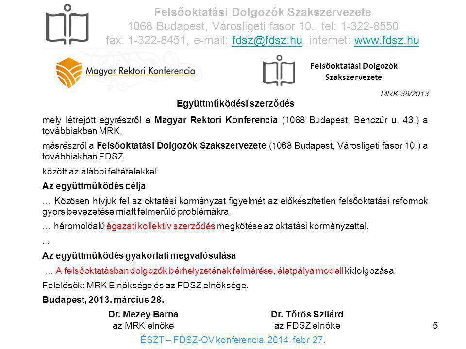 Felsőoktatási Dolgozók Szakszervezete Együttműködési szerződés