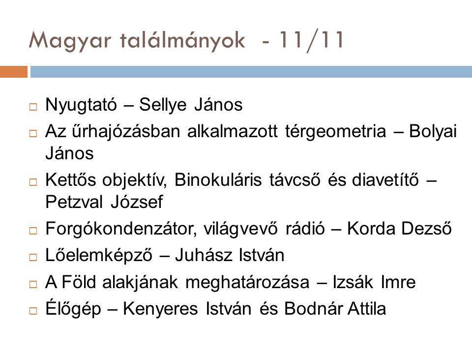 Magyar találmányok - 11/11 Nyugtató – Sellye János