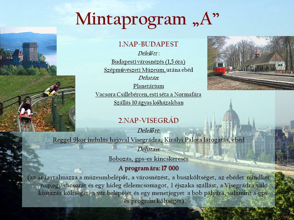"""Mintaprogram """"A 1.NAP-BUDAPEST 2.NAP-VISEGRÁD Délelőtt:"""