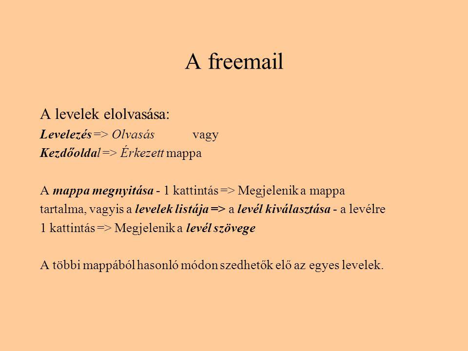 A freemail A levelek elolvasása: Levelezés => Olvasás vagy