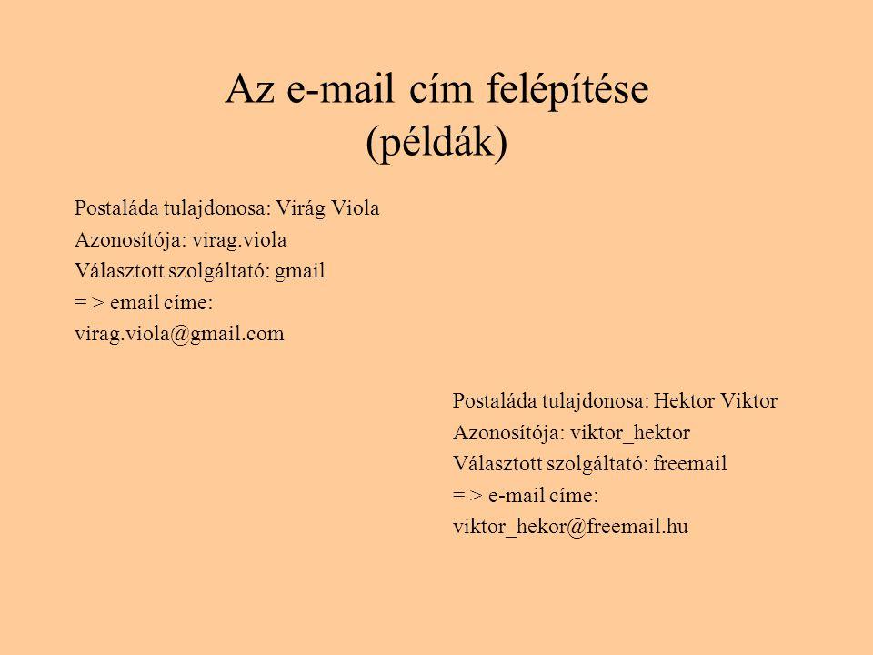 Az e-mail cím felépítése (példák)