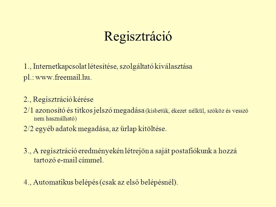 Regisztráció 1., Internetkapcsolat létesítése, szolgáltató kiválasztása. pl.: www.freemail.hu. 2., Regisztráció kérése.