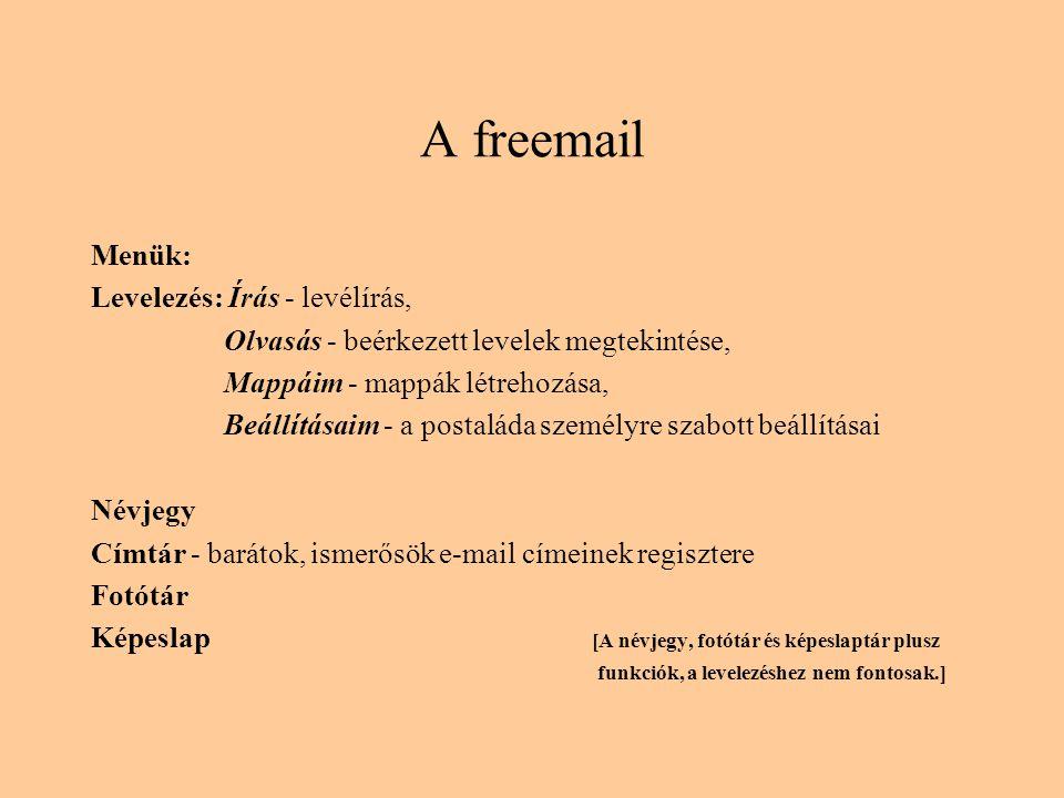 A freemail Menük: Levelezés: Írás - levélírás,