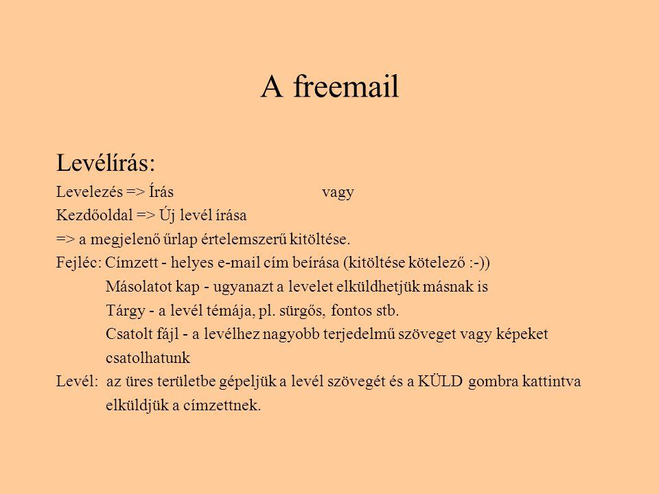 A freemail Levélírás: Levelezés => Írás vagy