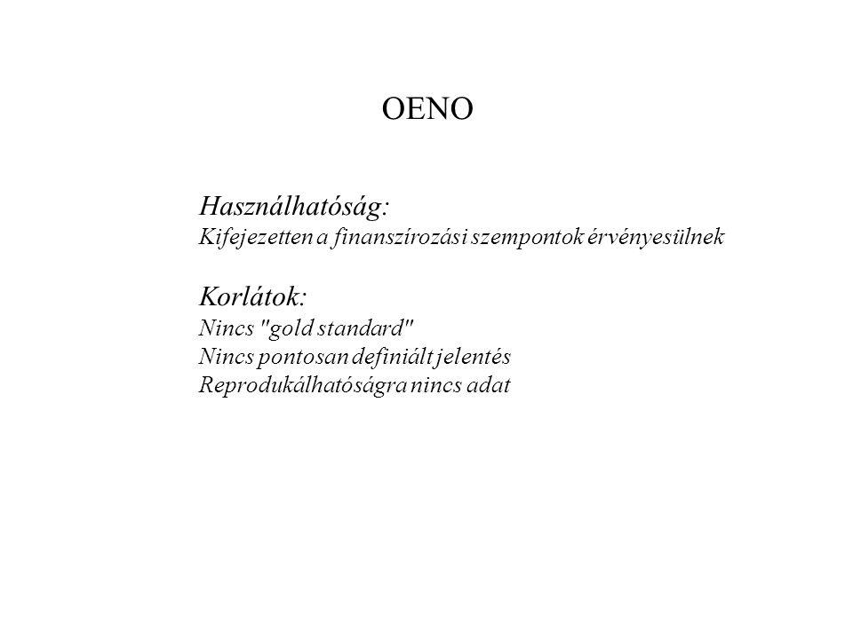 OENO Használhatóság: Korlátok: