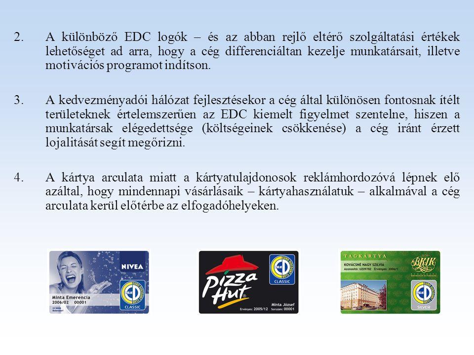 A különböző EDC logók – és az abban rejlő eltérő szolgáltatási értékek lehetőséget ad arra, hogy a cég differenciáltan kezelje munkatársait, illetve motivációs programot indítson.
