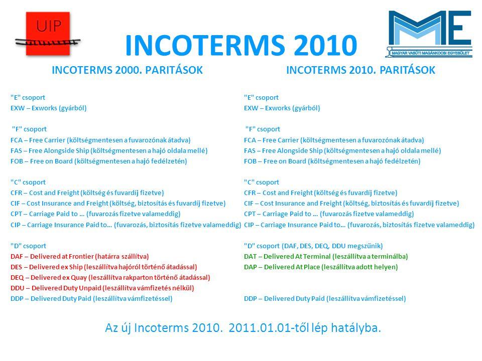Az új Incoterms 2010. 2011.01.01-től lép hatályba.