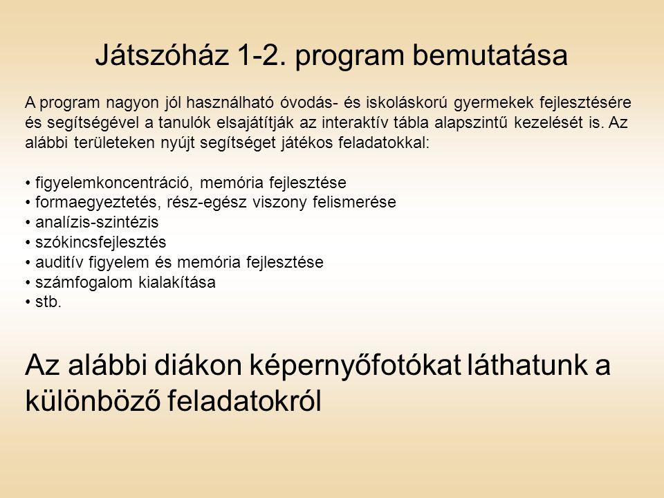 Játszóház 1-2. program bemutatása
