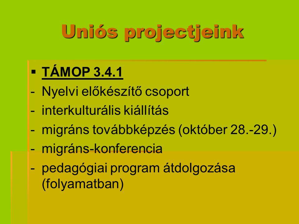 Uniós projectjeink TÁMOP 3.4.1 Nyelvi előkészítő csoport