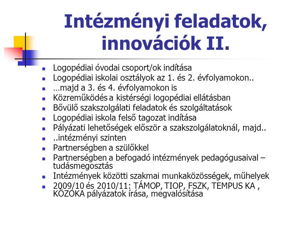 Intézményi feladatok, innovációk II.