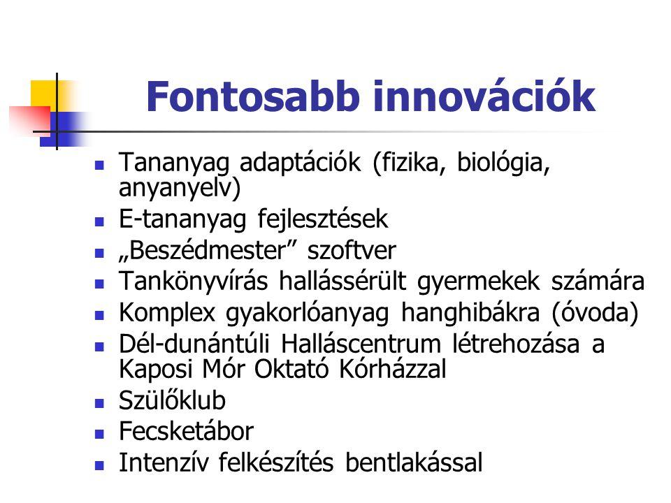 Fontosabb innovációk Tananyag adaptációk (fizika, biológia, anyanyelv)