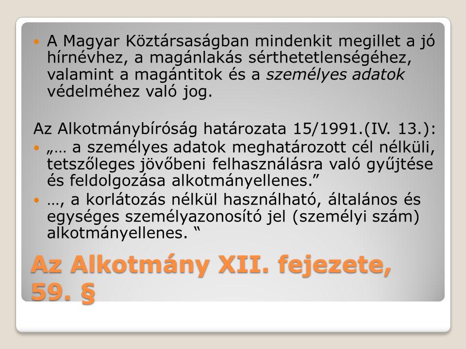 Az Alkotmány XII. fejezete, 59. §