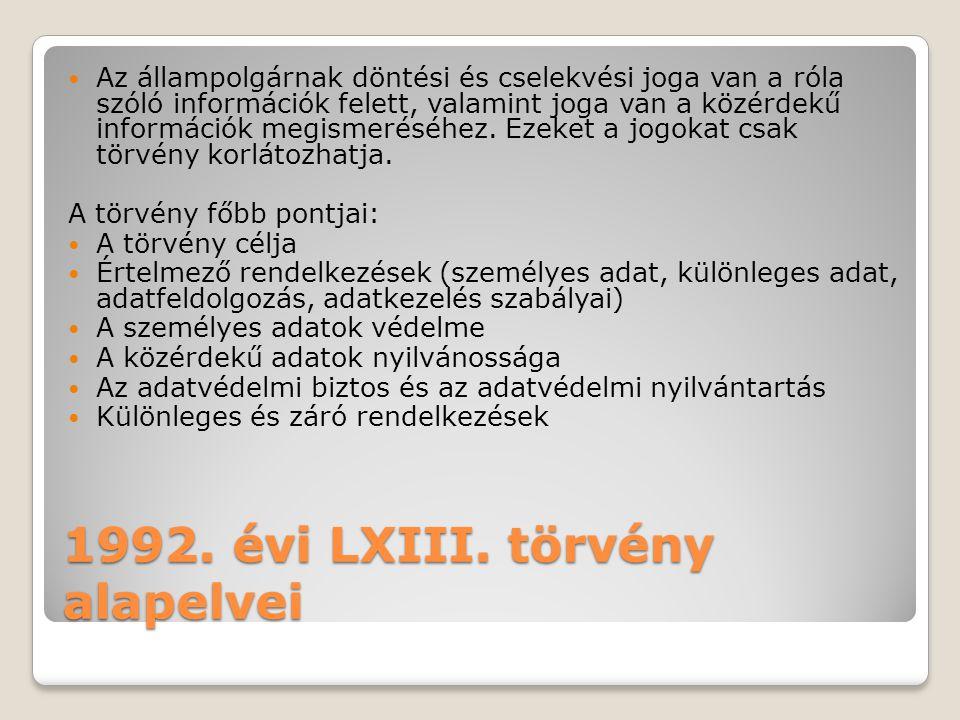 1992. évi LXIII. törvény alapelvei