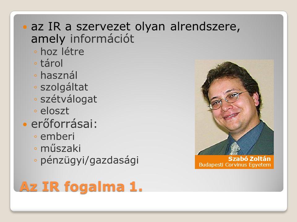 az IR a szervezet olyan alrendszere, amely információt
