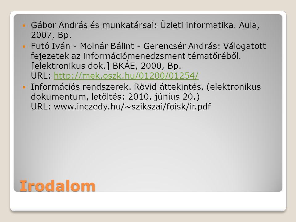 Gábor András és munkatársai: Üzleti informatika. Aula, 2007, Bp.