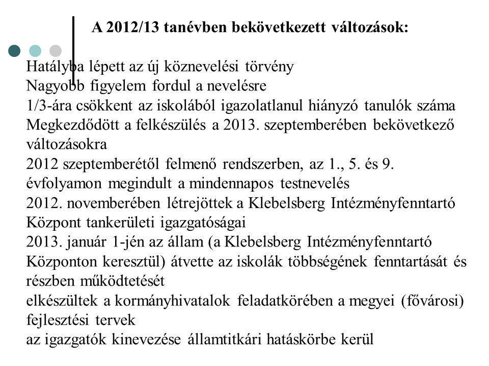 A 2012/13 tanévben bekövetkezett változások:
