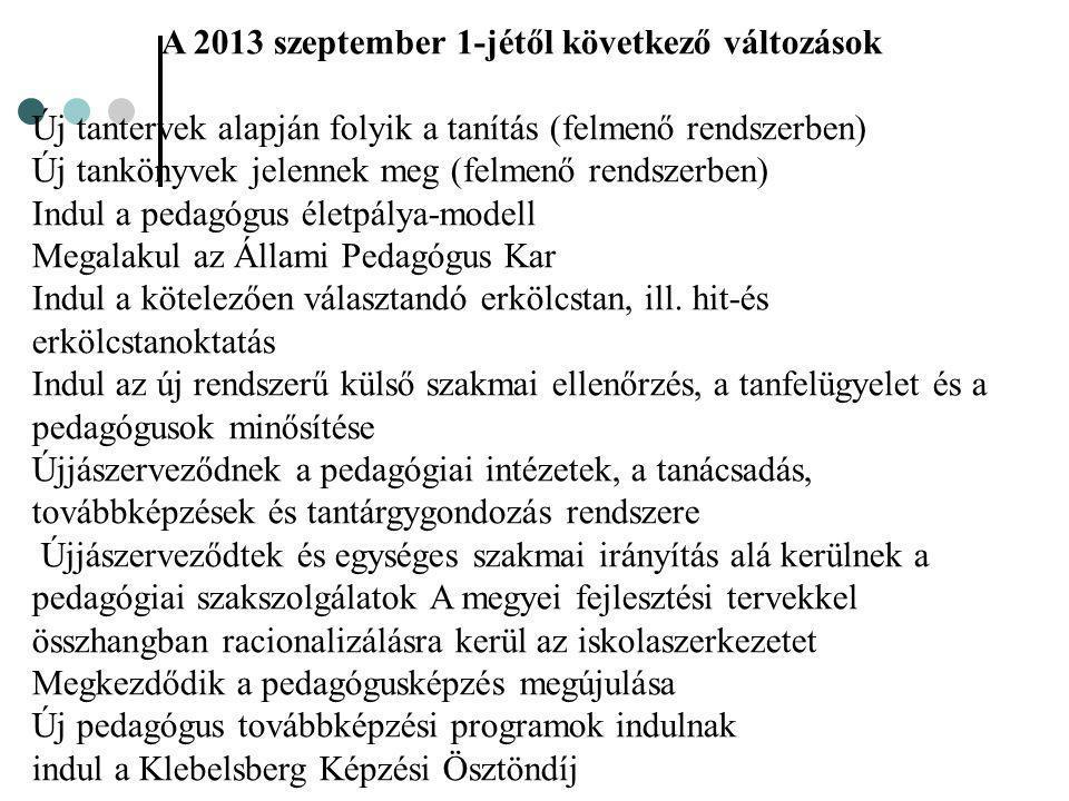 A 2013 szeptember 1-jétől következő változások