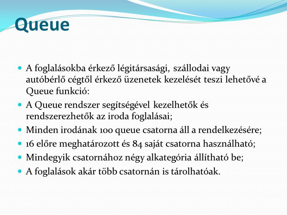 Queue A foglalásokba érkező légitársasági, szállodai vagy autóbérlő cégtől érkező üzenetek kezelését teszi lehetővé a Queue funkció: