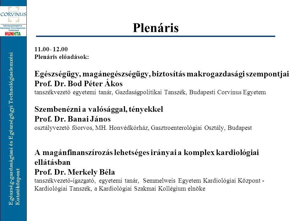 Plenáris 11.00- 12.00. Plenáris előadások: Egészségügy, magánegészségügy, biztosítás makrogazdasági szempontjai.