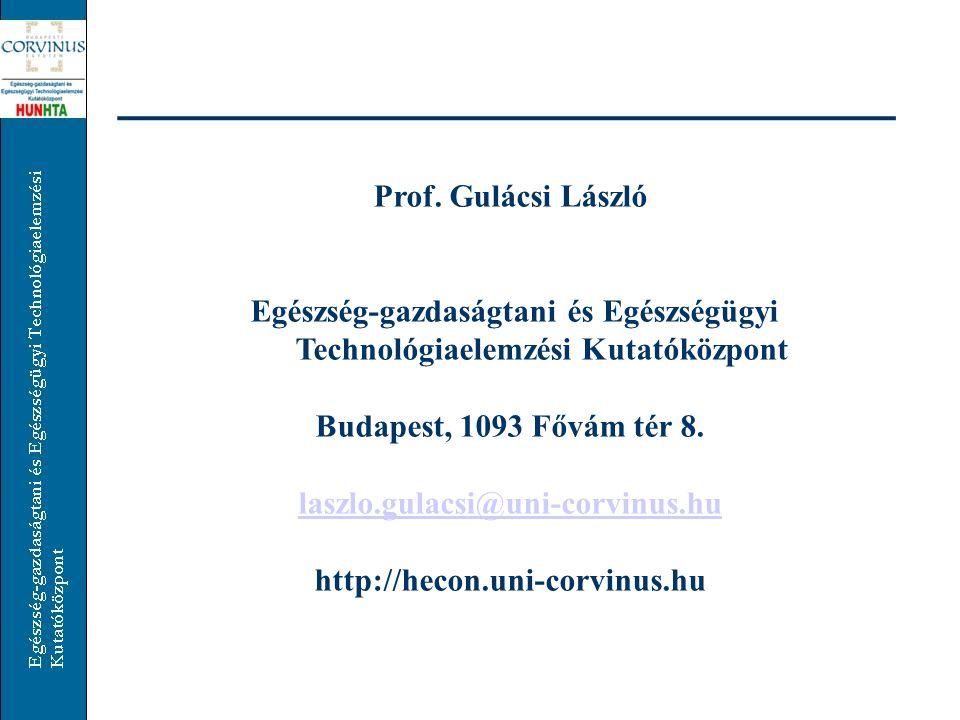 Prof. Gulácsi László Egészség-gazdaságtani és Egészségügyi Technológiaelemzési Kutatóközpont. Budapest, 1093 Fővám tér 8.