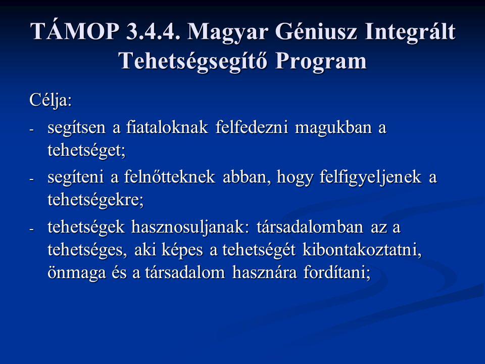 TÁMOP 3.4.4. Magyar Géniusz Integrált Tehetségsegítő Program