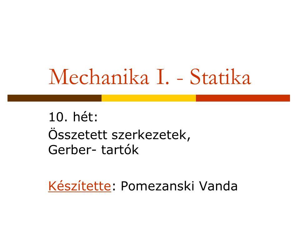 Mechanika I. - Statika 10. hét: Összetett szerkezetek, Gerber- tartók