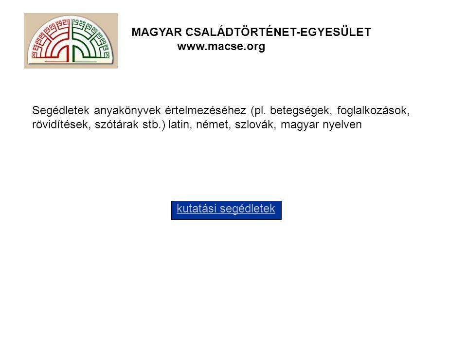 Segédletek anyakönyvek értelmezéséhez (pl