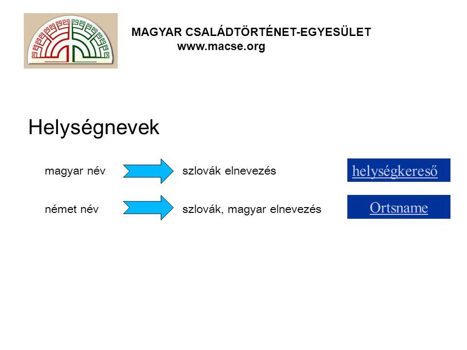 Helységnevek helységkereső Ortsname magyar név szlovák elnevezés