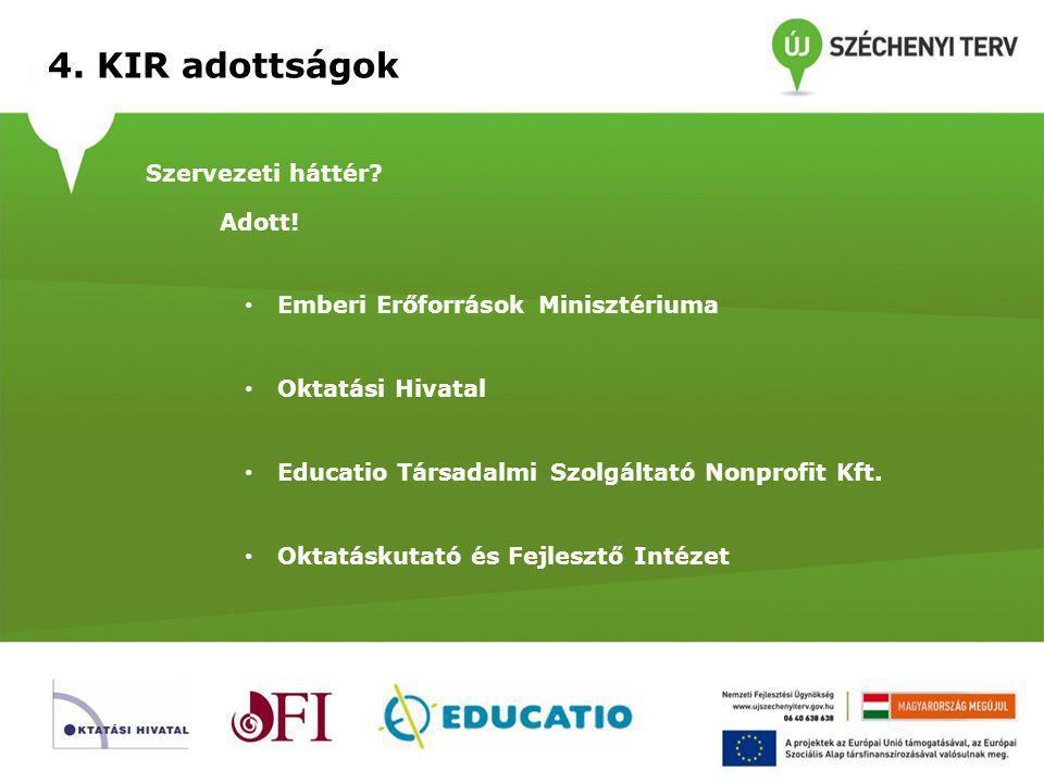 4. KIR adottságok Szervezeti háttér Adott!