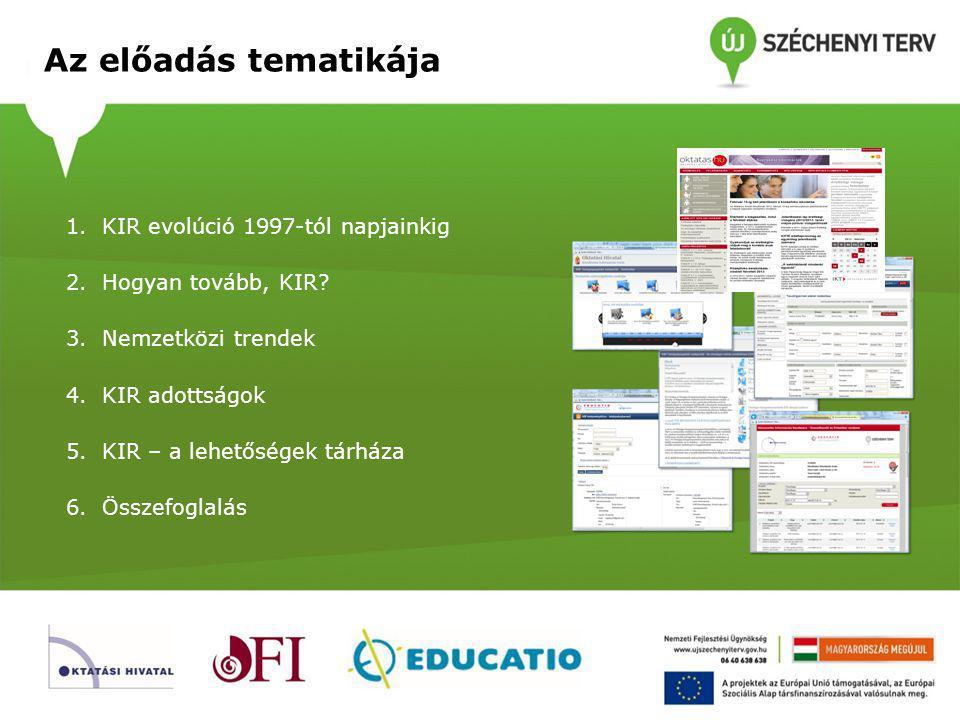 Az előadás tematikája KIR evolúció 1997-tól napjainkig