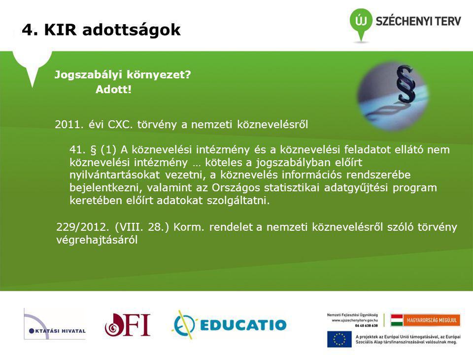 4. KIR adottságok Jogszabályi környezet Adott!