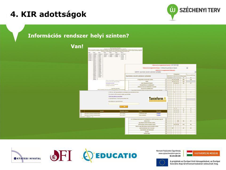 4. KIR adottságok Információs rendszer helyi szinten Van!