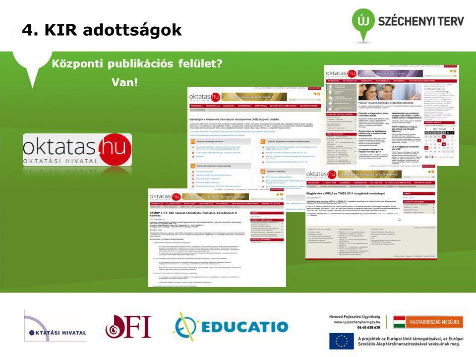 4. KIR adottságok Központi publikációs felület Van!