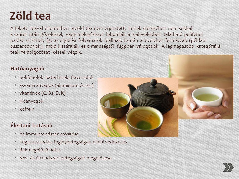 Zöld tea Hatóanyagai: Élettani hatásai: