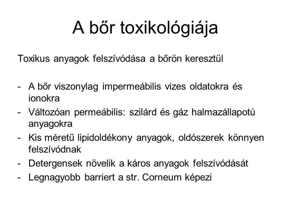 A bőr toxikológiája Toxikus anyagok felszívódása a bőrön keresztül