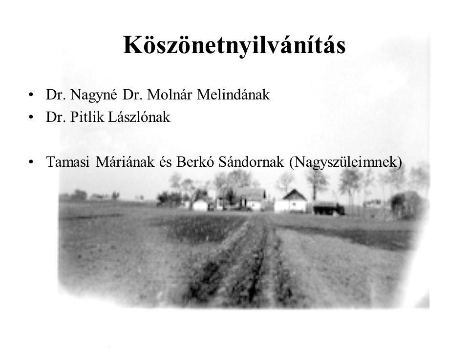 Köszönetnyilvánítás Dr. Nagyné Dr. Molnár Melindának