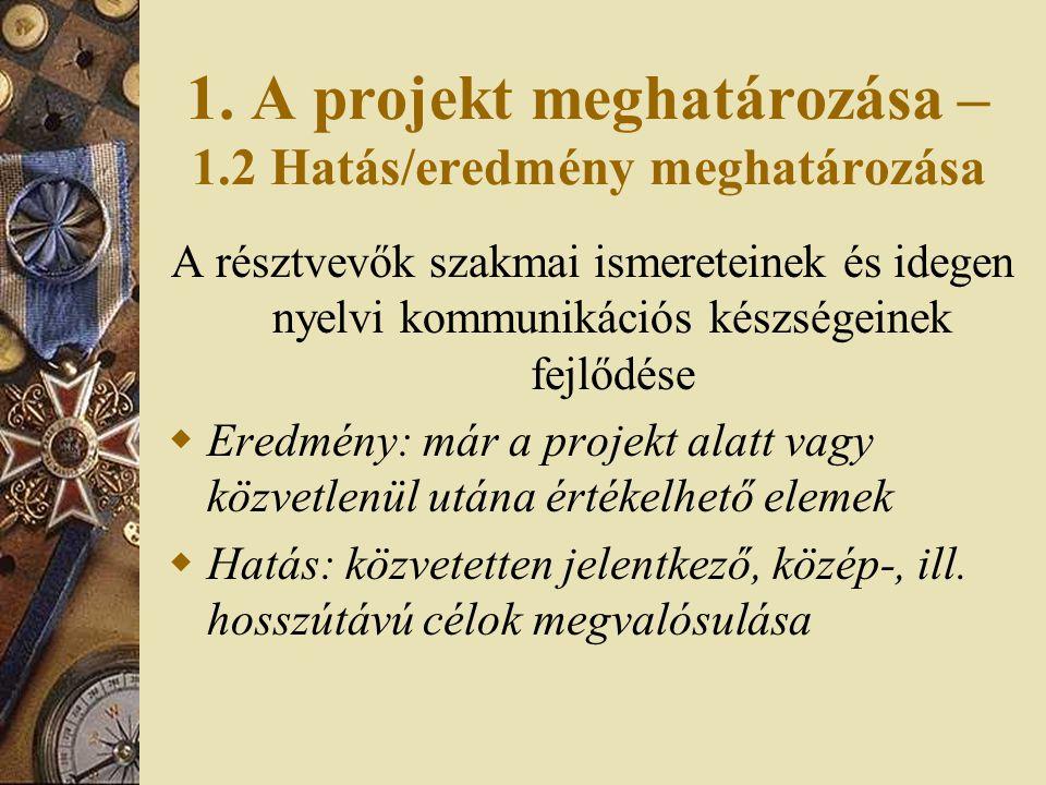 1. A projekt meghatározása – 1.2 Hatás/eredmény meghatározása