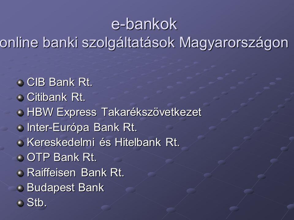 e-bankok online banki szolgáltatások Magyarországon