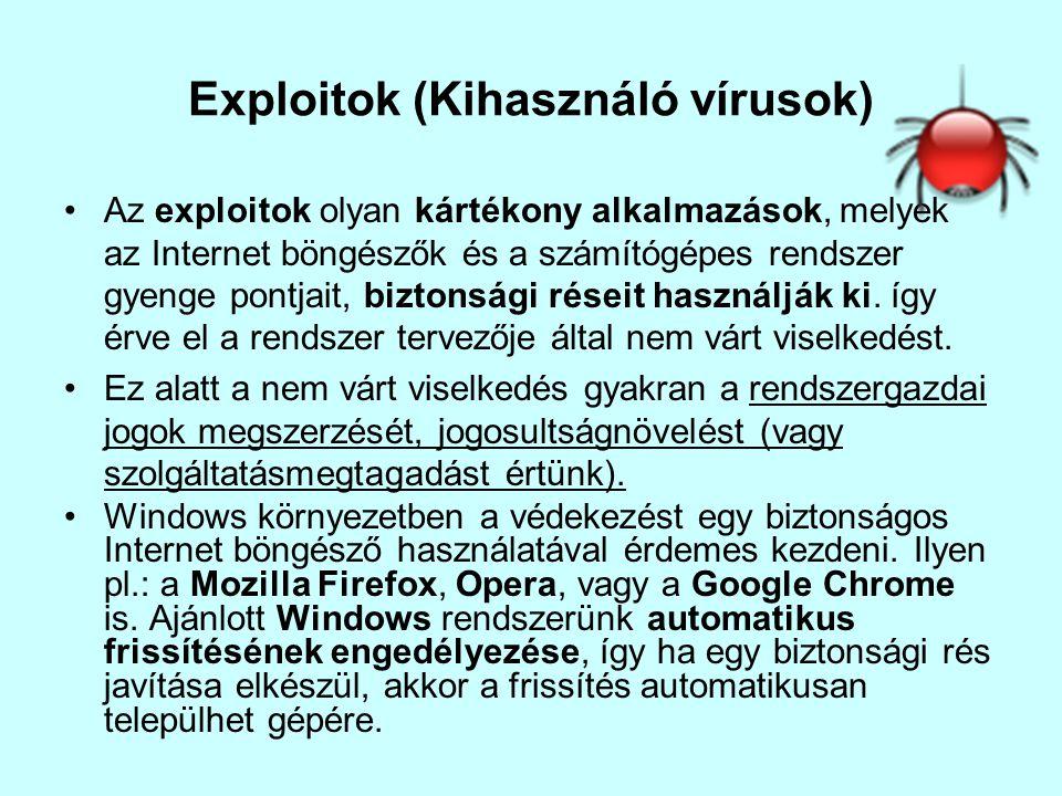 Exploitok (Kihasználó vírusok)