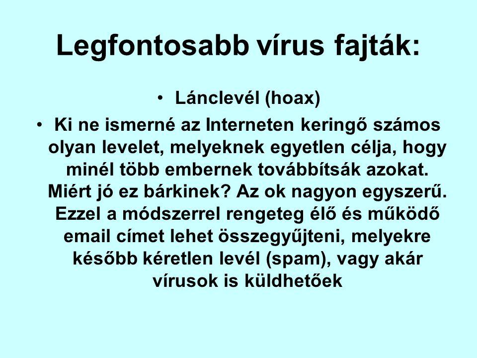 Legfontosabb vírus fajták:
