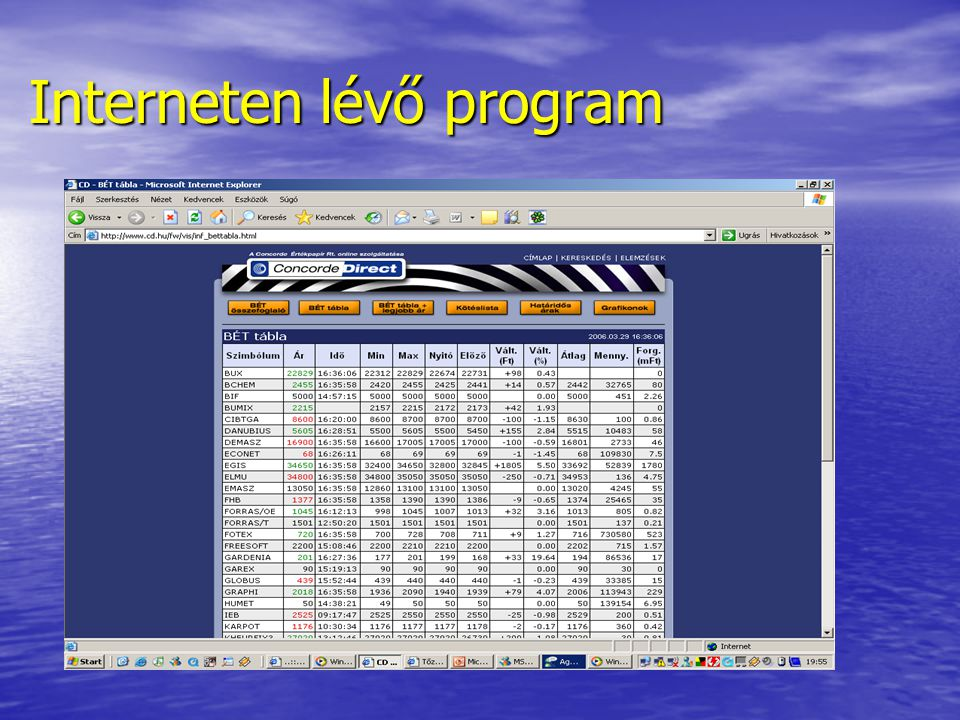 Interneten lévő program