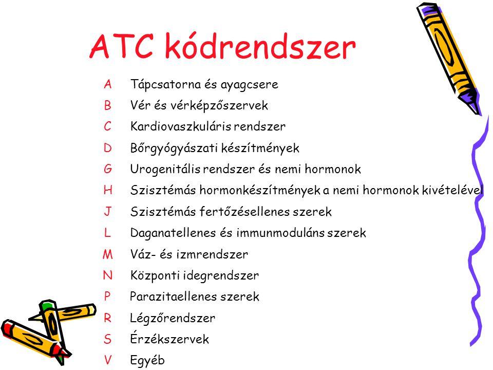 ATC kódrendszer A Tápcsatorna és ayagcsere B Vér és vérképzőszervek C