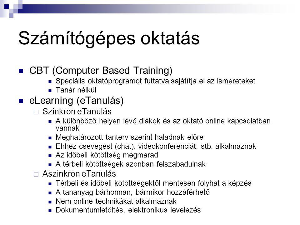 Számítógépes oktatás CBT (Computer Based Training)