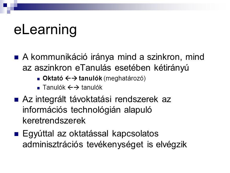 eLearning A kommunikáció iránya mind a szinkron, mind az aszinkron eTanulás esetében kétirányú. Oktató  tanulók (meghatározó)