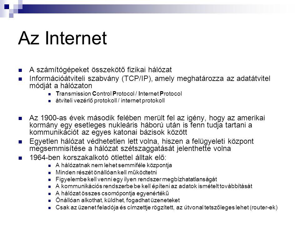 Az Internet A számítógépeket összekötő fizikai hálózat