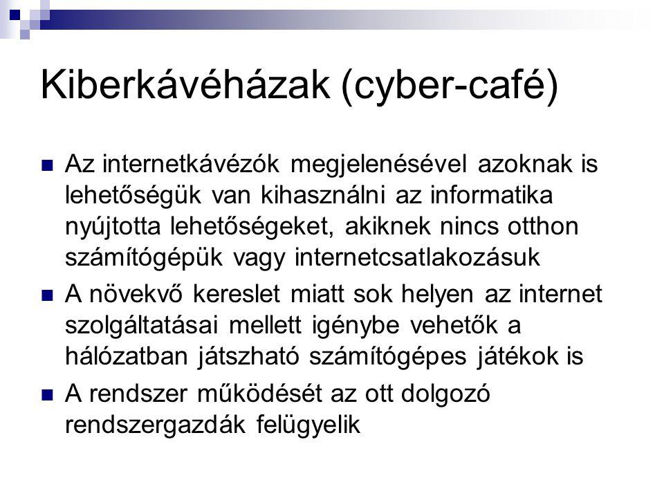 Kiberkávéházak (cyber-café)