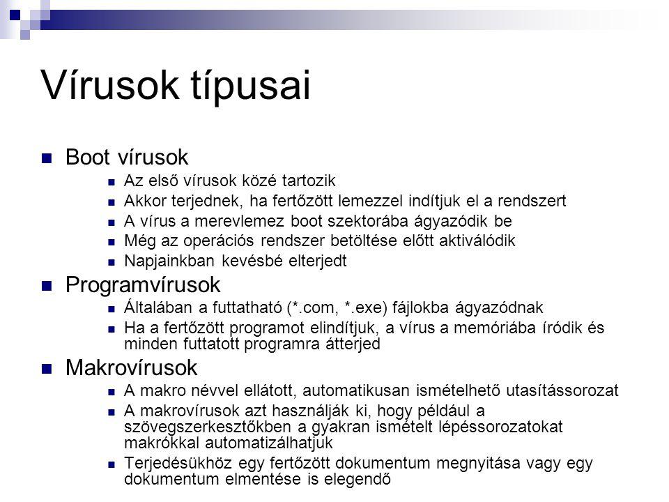 Vírusok típusai Boot vírusok Programvírusok Makrovírusok