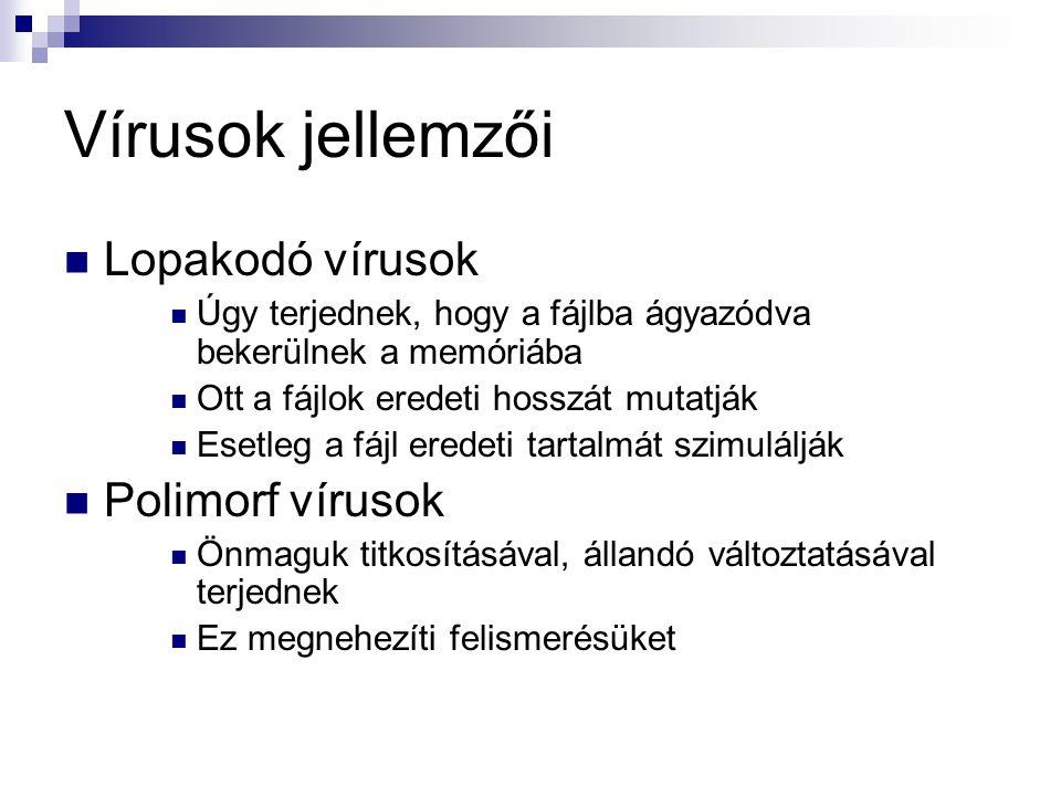 Vírusok jellemzői Lopakodó vírusok Polimorf vírusok